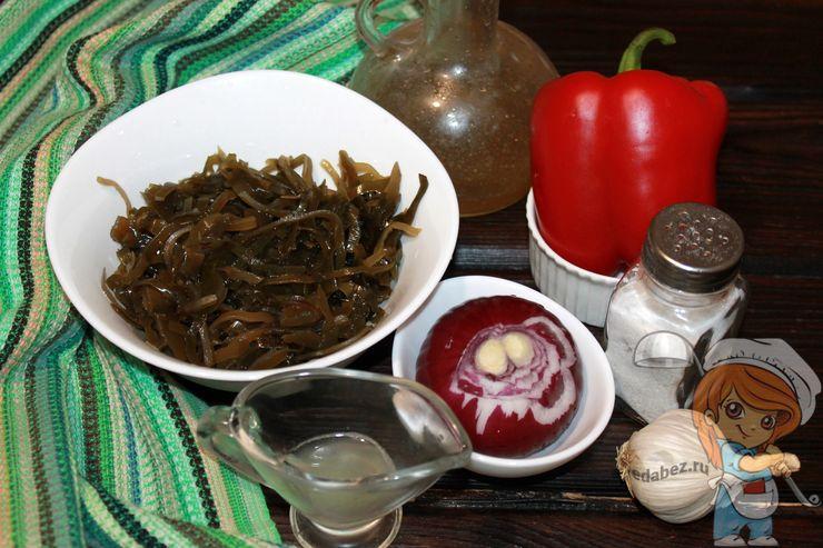 Продукты для салата с морской капустой