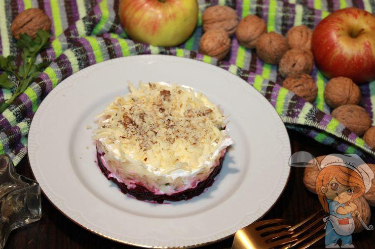 рецепт салата с сыром, яблоком и свеклой