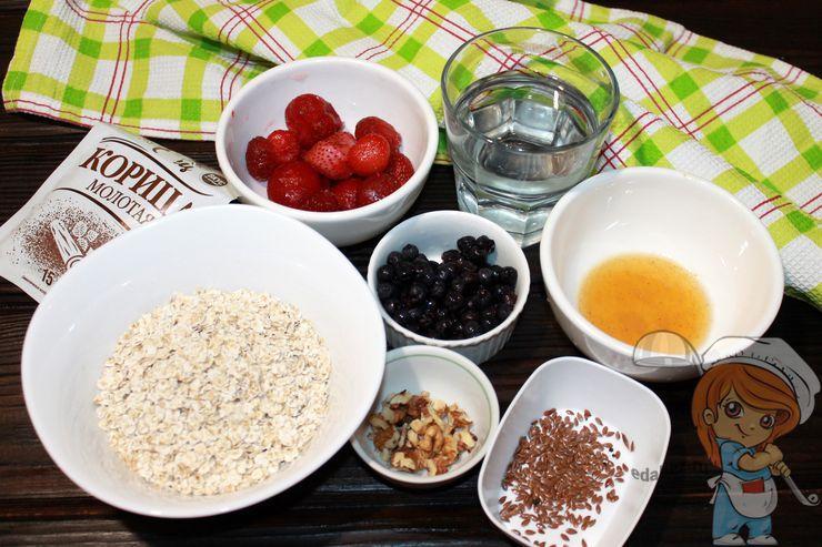 Ингредиенты для овсянки с орехами