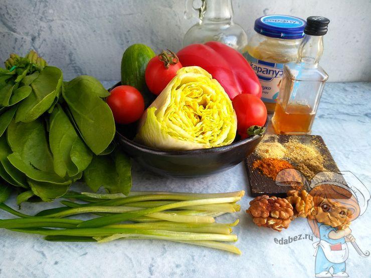 Ингредиенты для салата со шпинатом