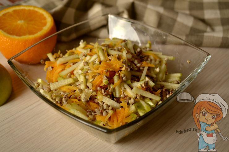 Салат с пророщенной зеленой гречкой, рецепт с фото