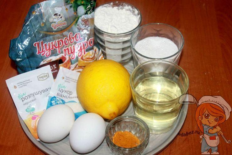 Ингредиенты для лимонного печенья