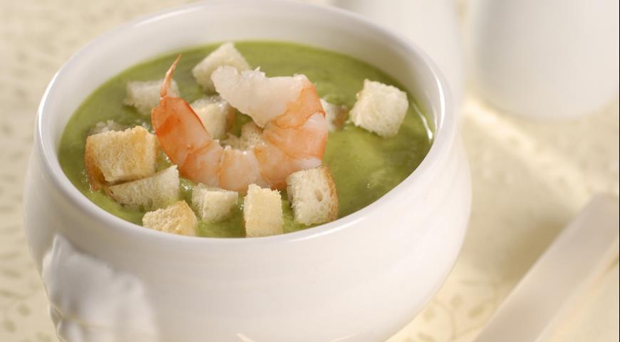 Суп из брокколи с креветками