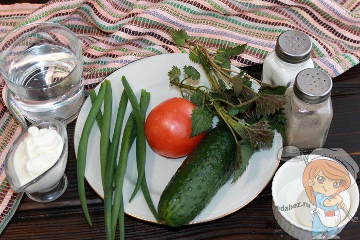 Ингредиенты для салата с крапивой и яйцом