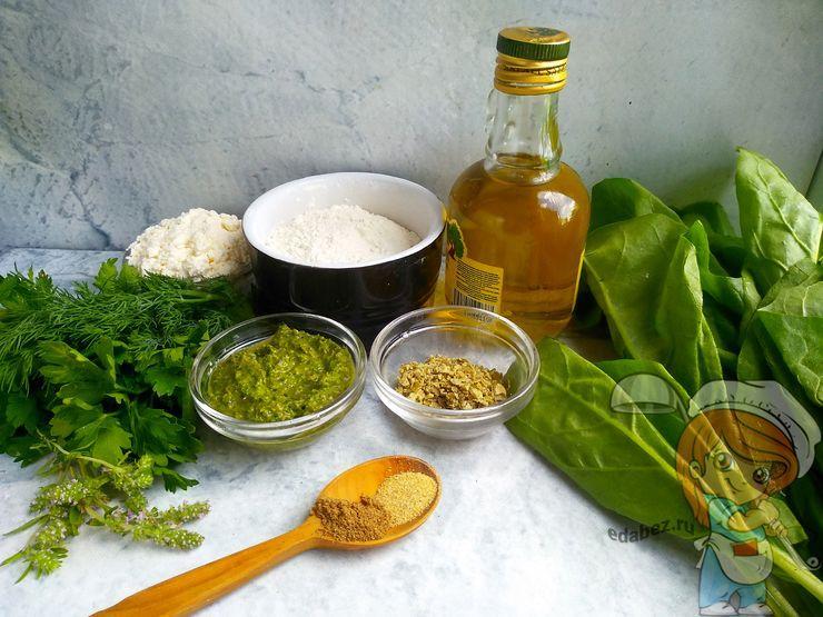 Ингредиенты для зеленого печенья