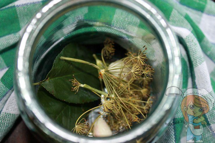 Кладем на дно банки листья, укроп, чеснок