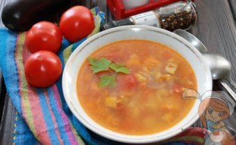 Овощной суп с баклажанами, морковью и помидорами