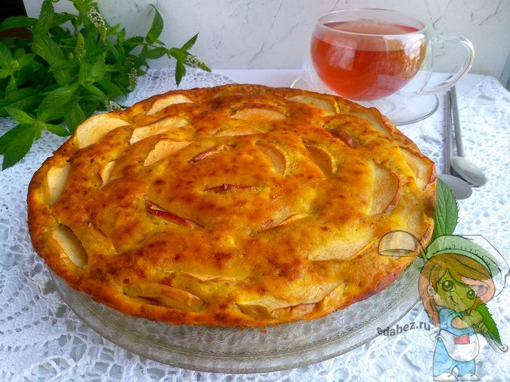 Творожная шарлотка яблоками - рецепт приготовления в духовке