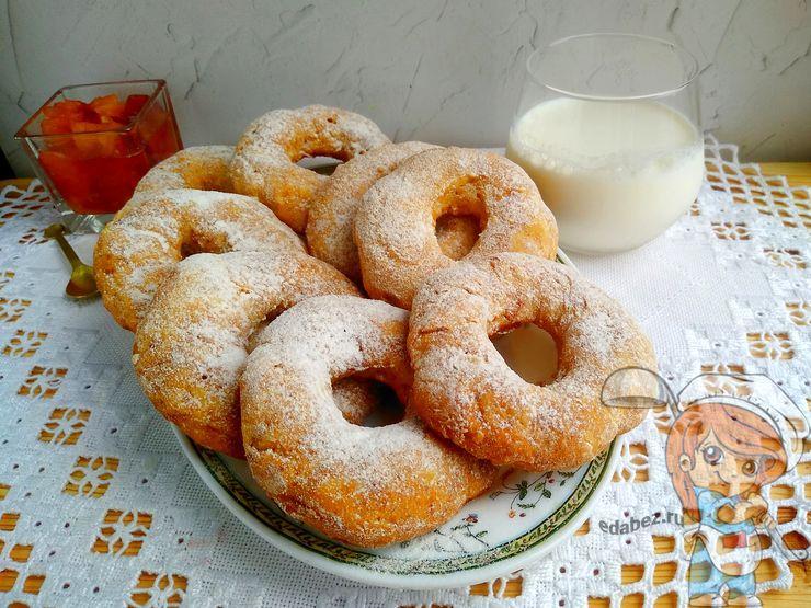 творожные пончики без дрожжей в духовке - рецепт с фото