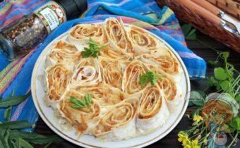 Пирог с капустой и грибами без замеса