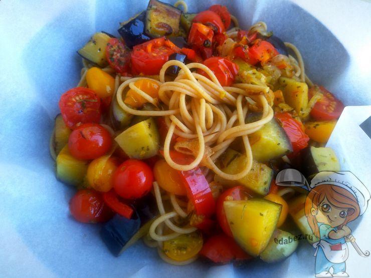 Соединяем спагетти с овощами