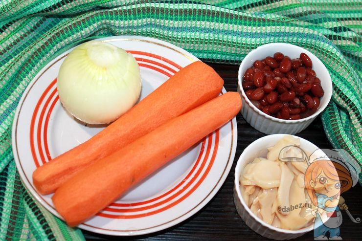 Моем и чистим овощи, готовим грибы и фасоль