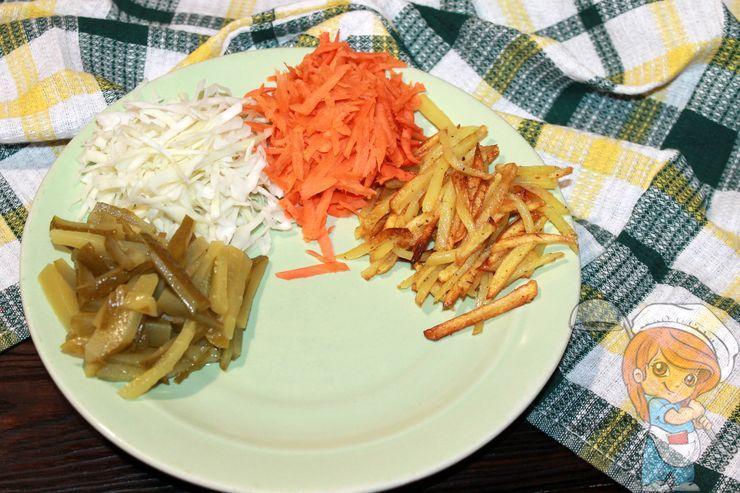 Порция моркови и огурцов