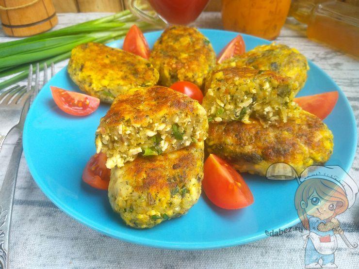 Постные вегетарианские котлеты из картофеля водорослей и тофу