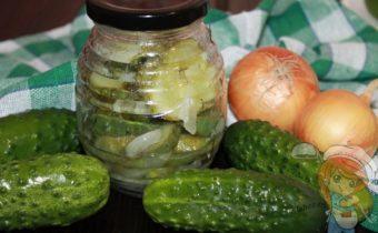 Салат на зиму из огурцов с луком